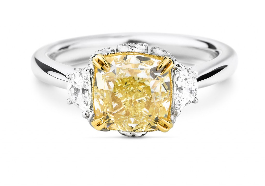 image of fancy yellow white gold engagement ring