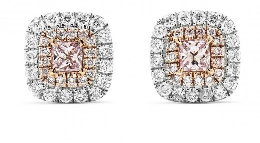 VERY LIGHT PINK DIAMOND EARRINGS 0.55 CARAT, CUSHION SHAPE