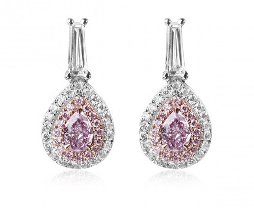 pear shape 0.71 fancy pink purple diamond earrings