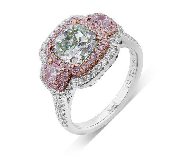 three stone green diamond engagement ring