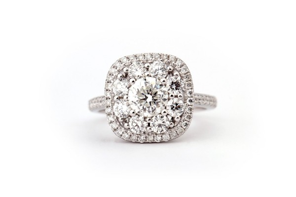 CUSHION setting WITH ROUND center HALO CLUSTER DIAMONDS, 1.00 ct, F, VS1, GIA