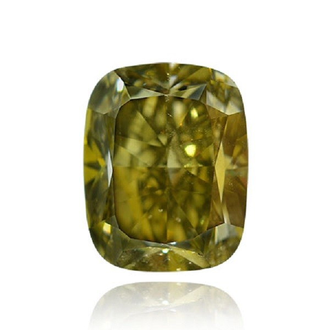 2.01 重量, 深 呈褐色绿色的 黄色 钻石, 枕型 形状, SI2 净度, GIA 认证, 1156325483