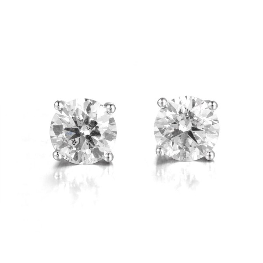 4 CLAW BRILLIANT CUT DIAMOND STUD EARRINGS, 1.08 ct, I-J, VS1