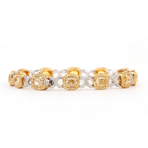 浅 黄色 钻石 手镯, 12.41 重量, VS1, IGI