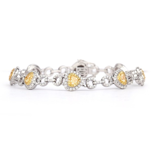 黄色 钻石 手镯, 4.51 重量, 心型 形状