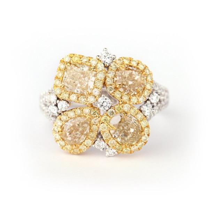 浅 黄色 钻石 戒指, 3.21 重量, 混合 形状