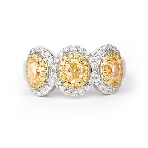 Fancy Yellow triple halo Diamond band, 0.82 ct, VS
