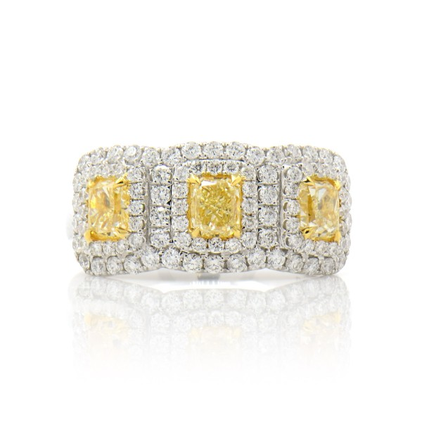 3 Fancy Yellow CUSHION DOUBLE HALO Diamond Ring, 1.21 ct, VS