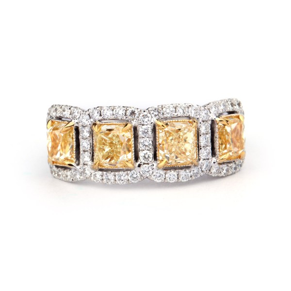FANCY YELLOW CUSHION CUT  HALO DIAMOND RING, 2.40 ct, VS2