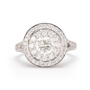 CLUSTER HALO SPLIT SHANK DIAMOND RING, 1.00 ct, H, VVS2, GIA