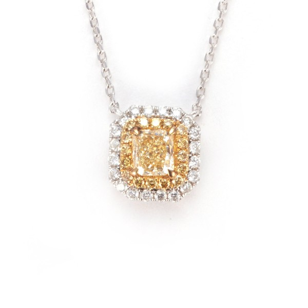 Fancy Yellow DOUBLE HALO Diamond Necklace, 0.53 ct, VS1