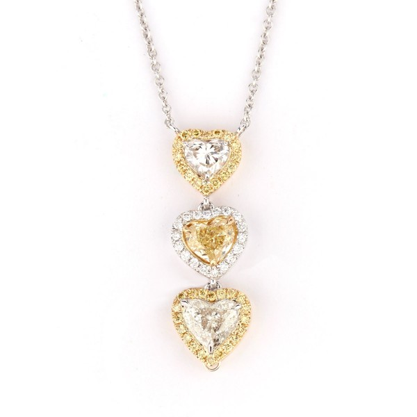 Fancy Intense Yellow & white daimond heart necklace, 1.26 ct