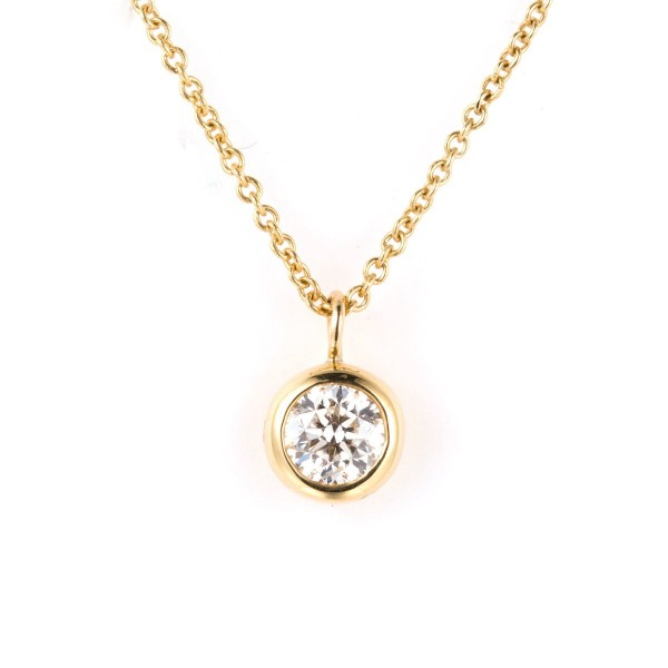 Yellow Gold Round BEZEL Pendant Necklace,  0.40 ct, G-H, SI2