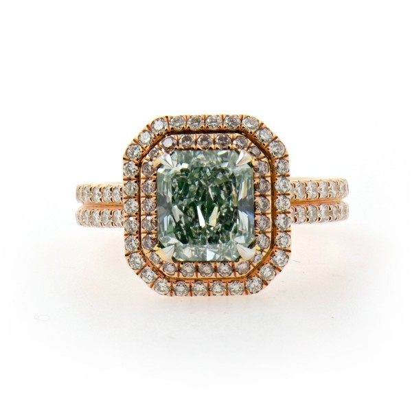 Fancy Light Bluish Green RADIANT DAIMOND HALO, 2.27 ct, I1, GIA