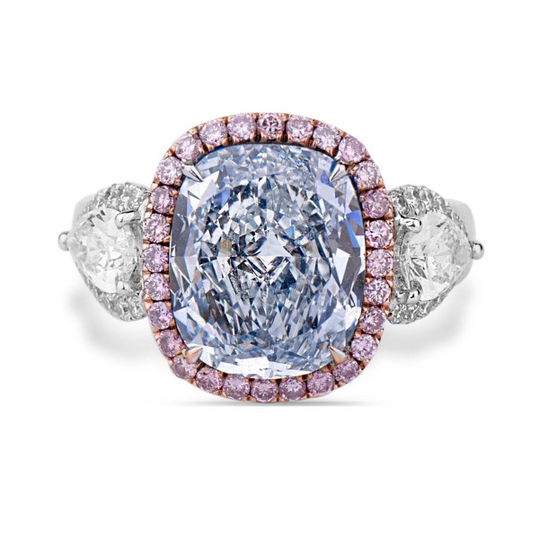 Light Blue CUSHION CUT PINK DIAMOND HALO, 4.65 ct, VS2, GIA