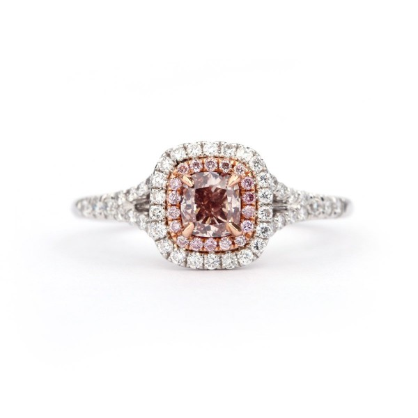 Fancy Intense Pink cushion cut double halo daimond, 0.46 ct, VS2, GIA
