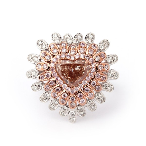 EXTRAVIGANT Fancy Brown Pink HEART Ring, 1.61 ct, VS2, GIA
