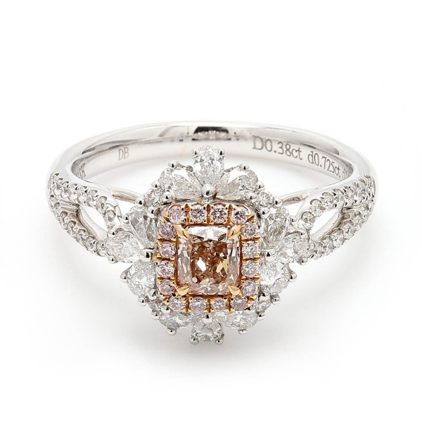Radiant Fancy Pink Brown white diamond halo cluster Ring, 0.38 ct, VS2, GIA