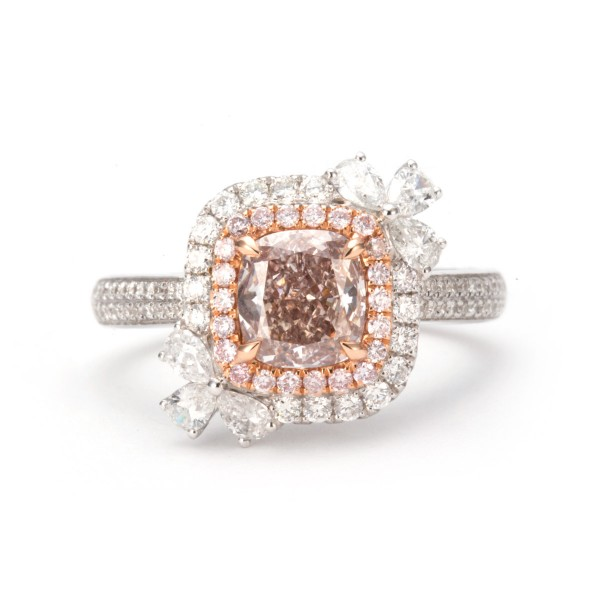 custion cut Fancy Pink Brown diamond halo, 1.15 ct, SI2, GIA