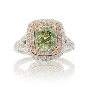 Fancy Green-Yellow PINK Diamond HALO, 2.38 ct, VS2, GIA