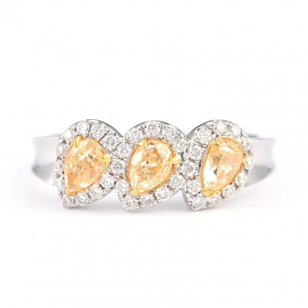 THREE FANCY LIGHT YELLOW PEAR SHAPE DIAMONG RING, 0.97 ct