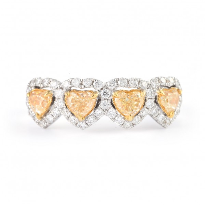 黄色 钻石 戒指, 1.31 重量, 心型 形状