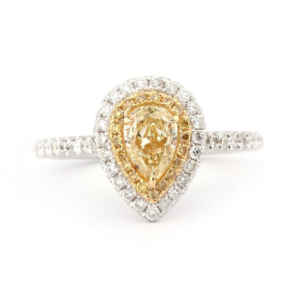 Fancy Yellow pear shape halo Diamond Ring, 0.50 ct, VS2