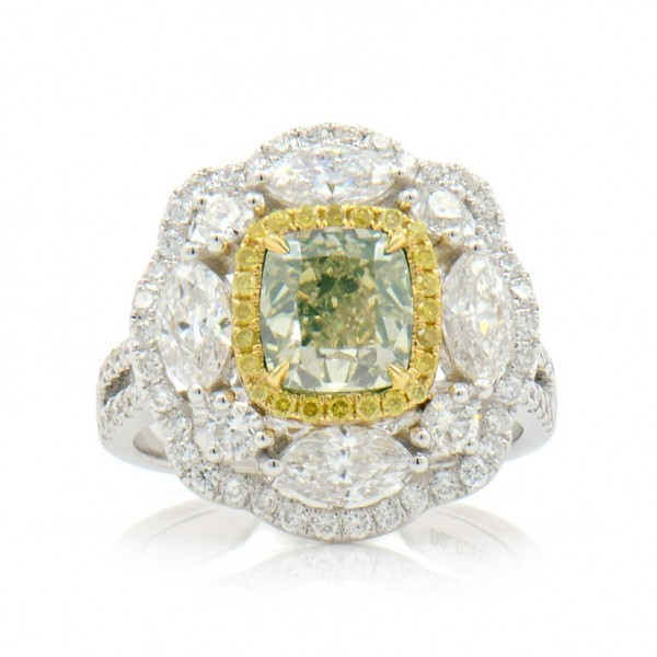 Fancy Green-Yellow floral Diamond Ring, 2.02 ct, SI1, GIA