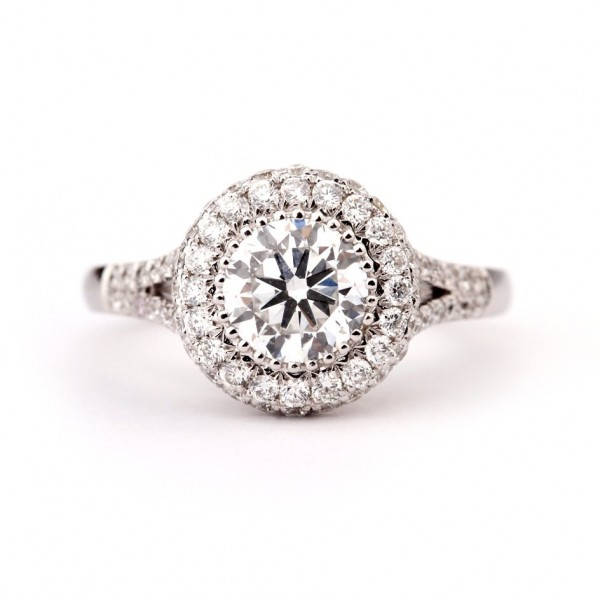 Micro Pave Radiant cut  diamond ring, 1.00 ct, D, VS1
