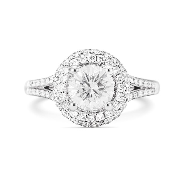 solitaire micro pave diamond halo ring, 1.00 ct, D, VS1, GIA, SKU