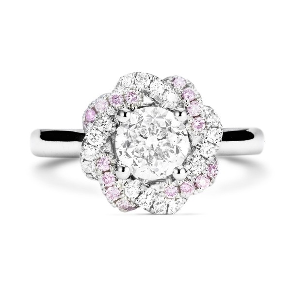 Round white daimond cluster floral halo, 1.18 ct, I, VS2