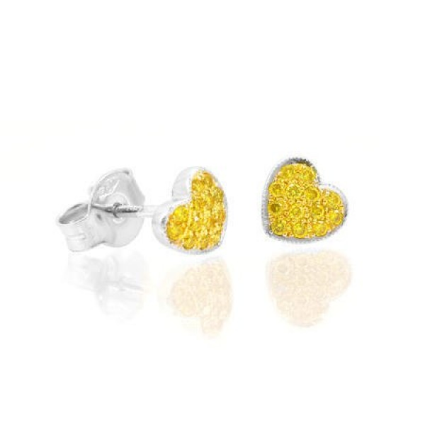 Fancy Intense Yellow Diamond Pave Heart STUDS,  0.15 ct