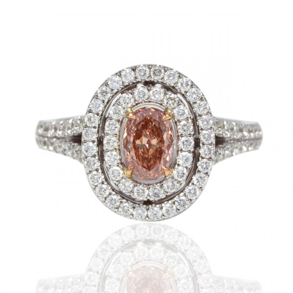 Oval Fancy Brown Pink double halo Diamond, 0.46 ct, SI2, GIA