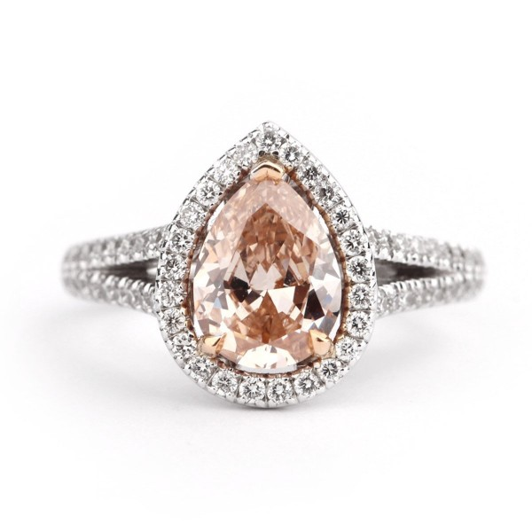 Fancy Pink Brown pear shape daimond halo, 1.51 ct, I1, GIA