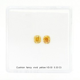 0.33 Carat, Fancy Vivid Yellow Diamond, Cushion shape, Vs-Si Clarity