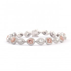 FANCY PINK & WHITE MULTI -SHAPE DIAMOND TENNIS Bracelet, 2.03 ct, VS