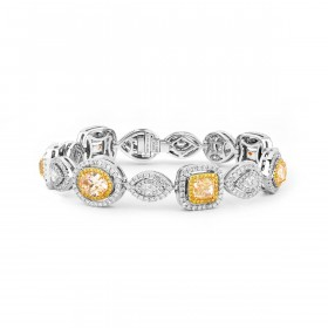 浅 黄色 钻石 手镯, 6.41 重量 (11.07 克拉 总重), 镭帝恩型 形状, EG_Lab 认证, J5926075034