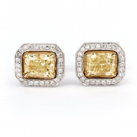Fancy Yellow Cushion Halo Earrings, 1.55 ct