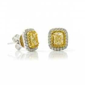 Fancy Yellow Double Diamond Halo Earrings, 0.86 ct