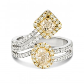 Fancy Light Yellow OVAL & CUSHION HALO  Ring, 1.18 ct