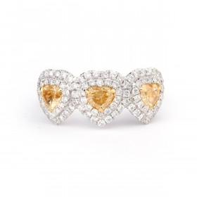 Fancy Light Yellow triple halo hearts diamond ring ,1.28 Carat, VS2