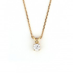 Yellow Gold Round diamond drop Pendant Necklace,  0.33 ct, G-H, SI2