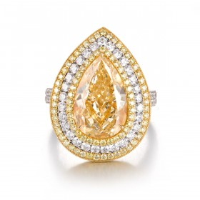 Fancy Yellow pear shape triple halo daimond, 6.46 ct, VS2, GIA