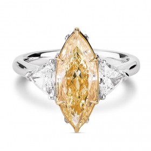 浅 黄色 钻石 戒指, 3.95 重量, 马眼型 形状, GIA 认证, 2196507723