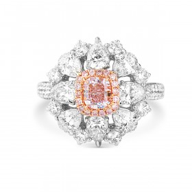 Light Pink Diamond Ring, 0.51 Ct. (2.64 Ct. TW), Cushion shape, GIA Certified, 2185454657