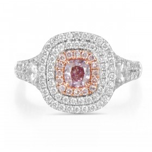 Brownish Purplish 粉色 钻石 戒指, 0.35 重量 (1.14 克拉 总重), 枕型 形状, GIA 认证, 2185226595