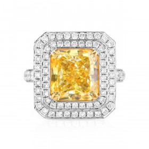 浅 Yellow (Y-Z) 钻石 戒指, 5.01 重量 (6.01 克拉 总重), 镭帝恩型 形状, GIA 认证, 6197229150