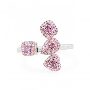 浅 褐色 粉色 钻石 戒指, 0.90 重量 (1.11 克拉 总重), 梨型 形状, GIA 认证, JCRF05439641