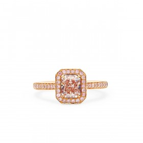 Fancy Pink Brown Diamond Ring, 0.86 Ct. (1.08 Ct. TW), Radiant shape, GIA Certified, 2205896419