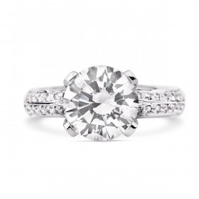 Micro Pave solitaire diamond ring,  3.09 ct, I, IF, IGI